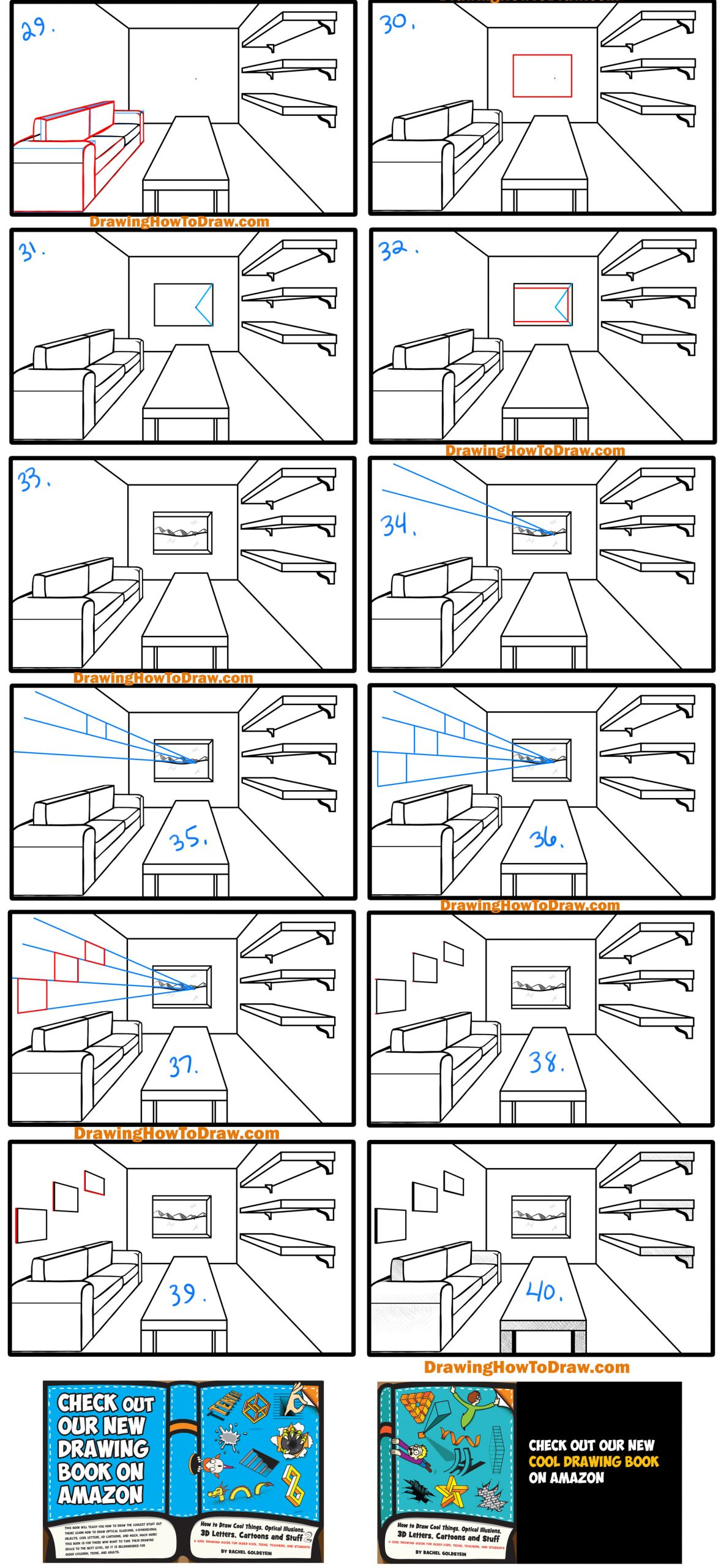 guide to drawing a room couch, shelves,window and table in 1 point perspective