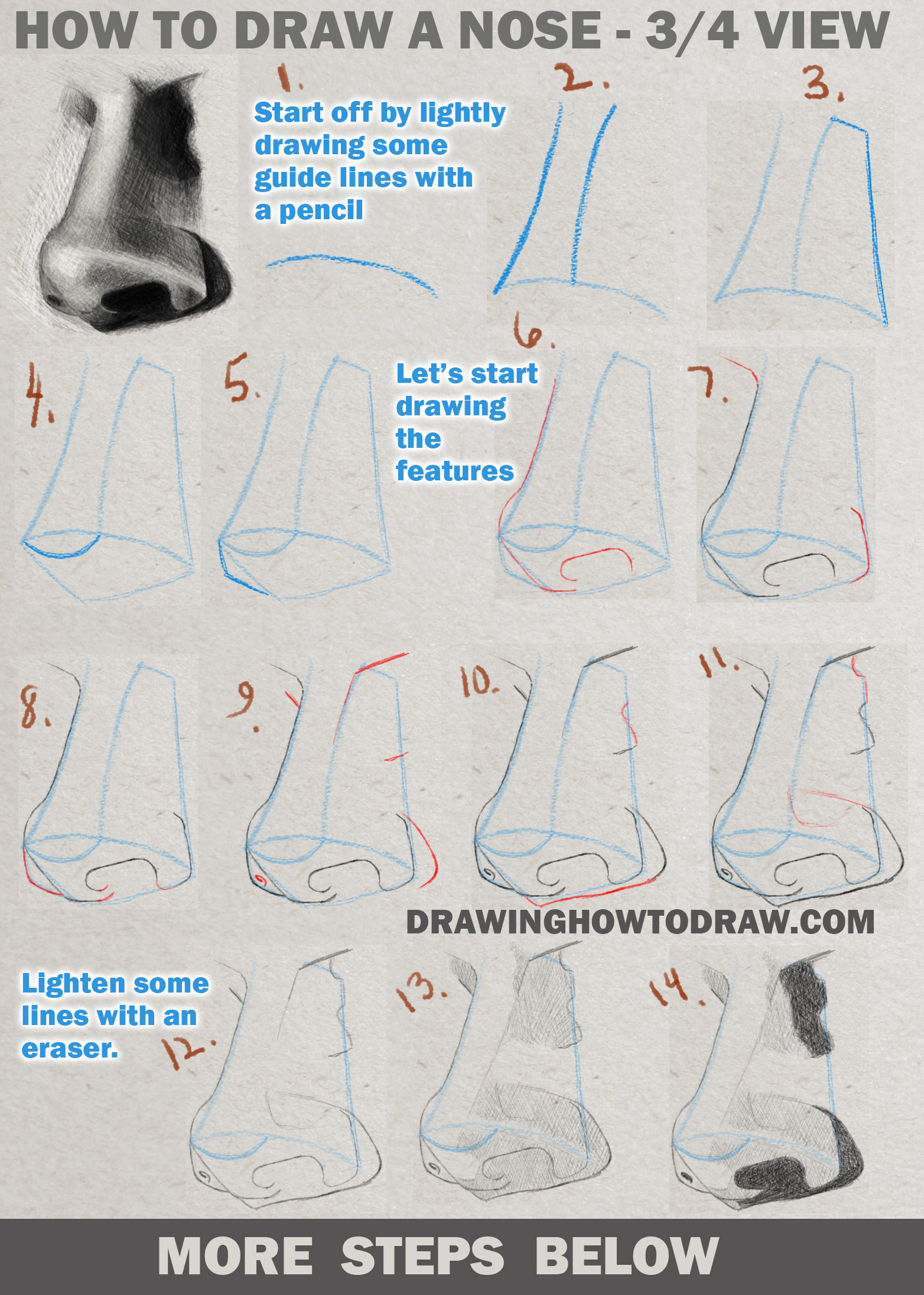 Drawing and Shading a Realistic Nose in 3/4 View in Pencil or Graphite Easy Step by Step Tutorial