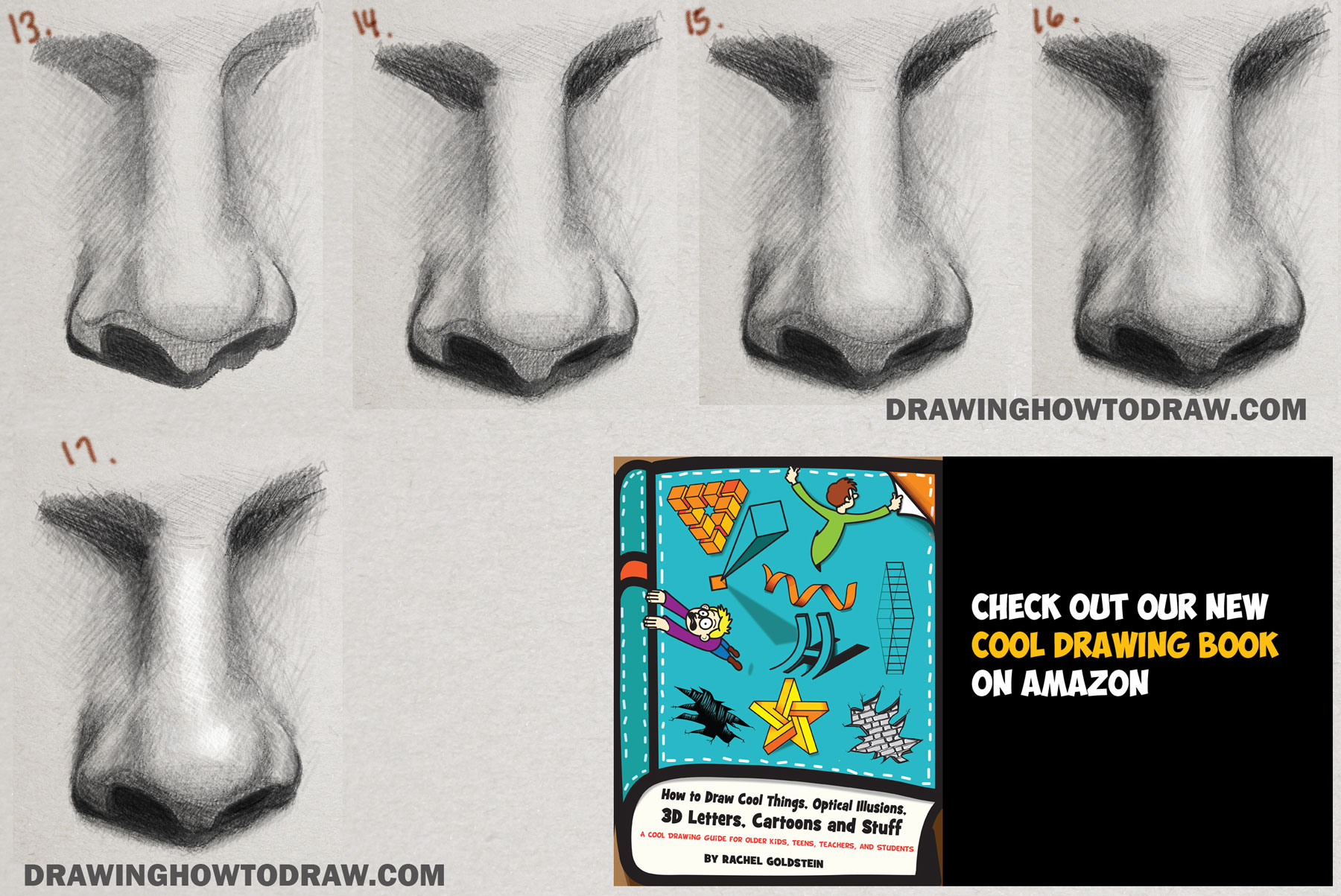 drawing and shading realistic noses step by step loomis method