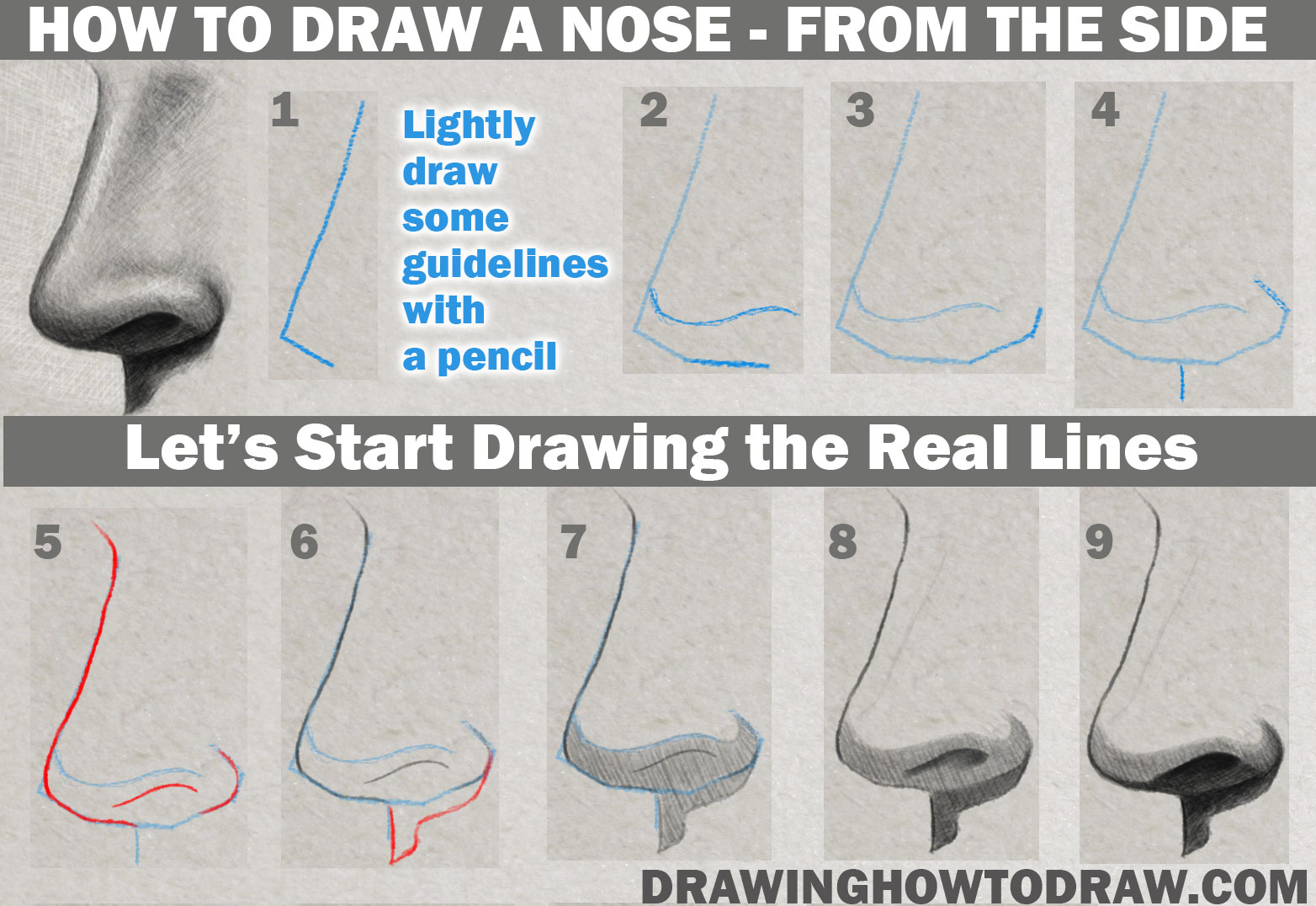 Learn How to Draw and Shade a Realistic Nose (Side View) in Pencil or Graphite Simple Steps Lesson