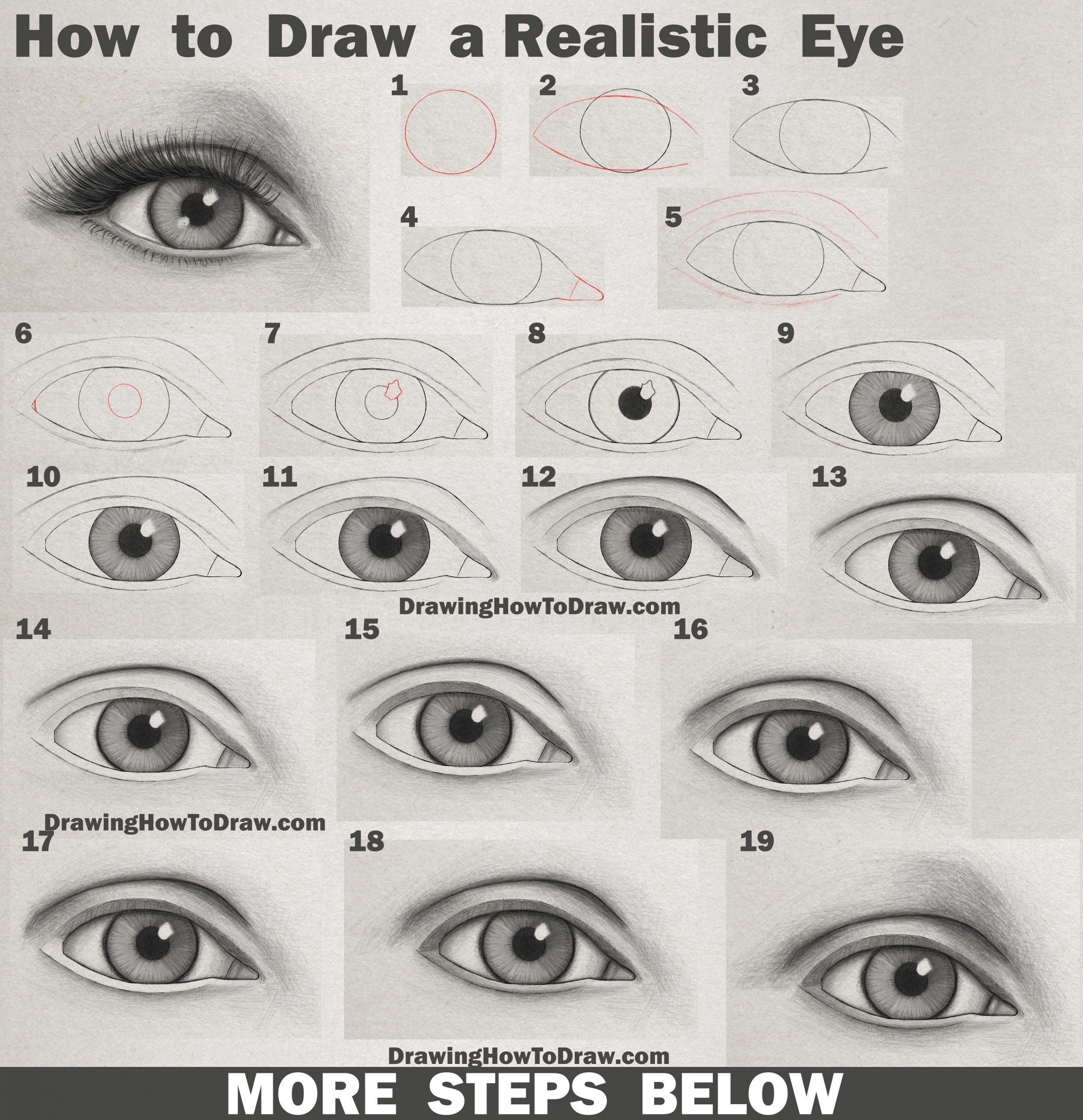 Learn How to Draw an Eye (Realistic Female Eye) Step by Step Drawing Tutorial
