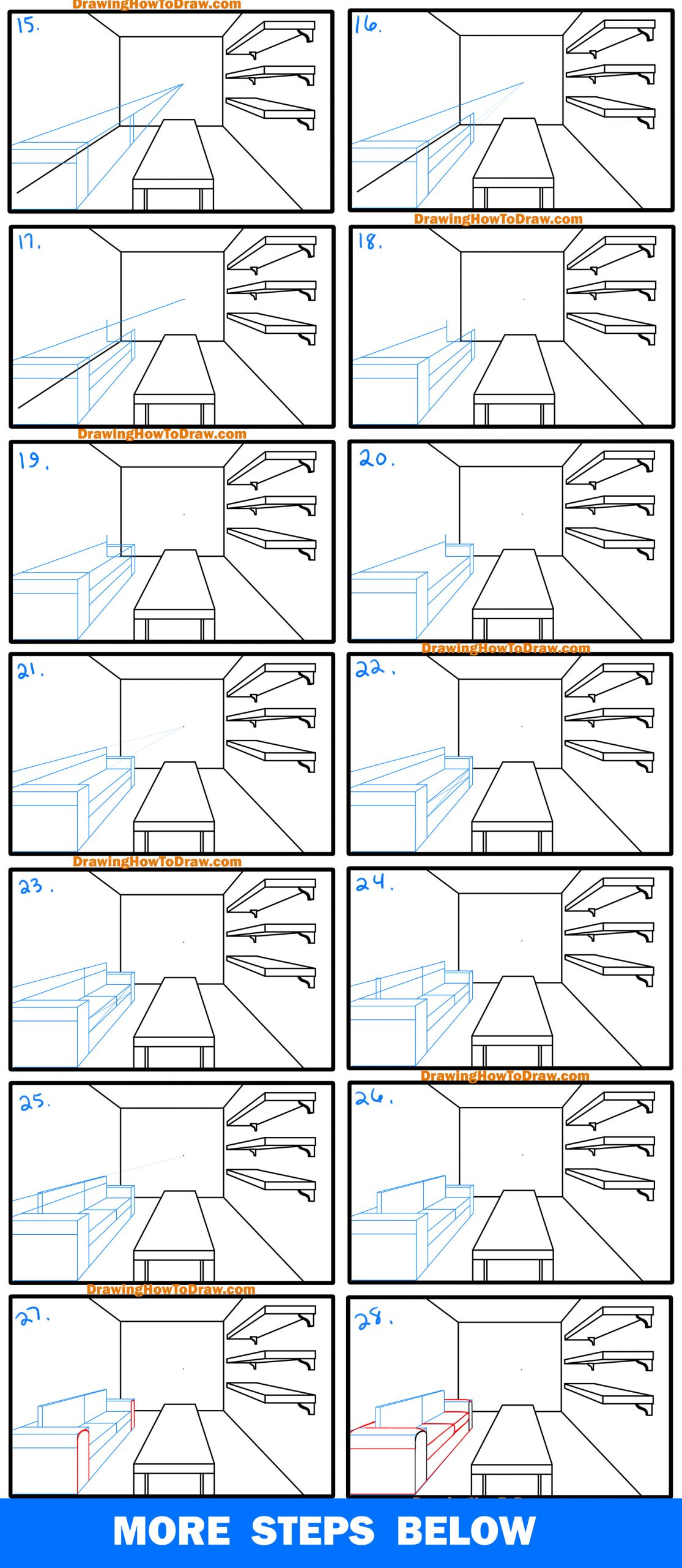 drawing an interior room in one point perspective simple lesson