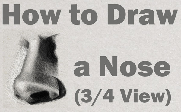 How to draw and shade realistic noses in 3/4 view