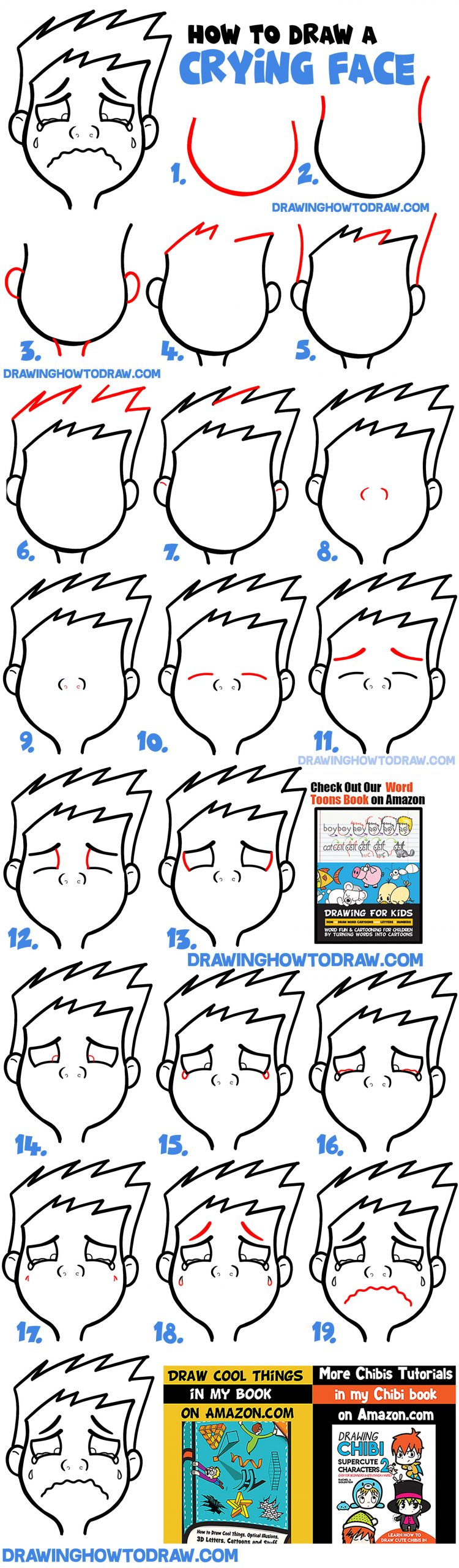 drawing cartoon facial expressions crying sobbing weeping easy step by step lesson