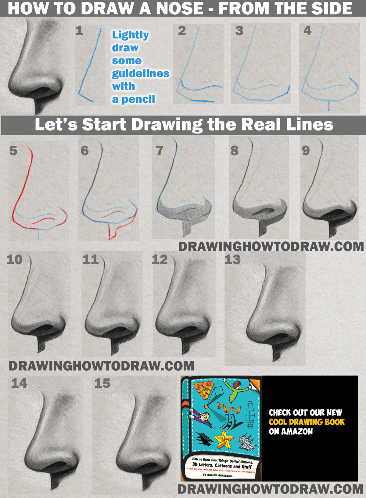 How to draw a Nose from the side with realistic shading step by step tutorial