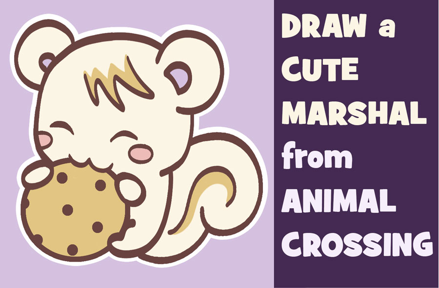 Learn How to Draw Marshal the Squirrel from Animal Crossing New Leaf (Cute, Kawaii, Chibi) Easy Step by Step Tutorial