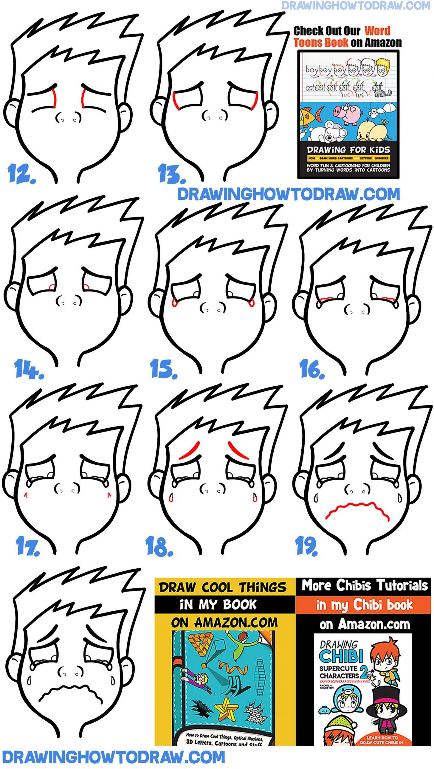 Drawing a cartoon boy or girl crying sobbing tutorial