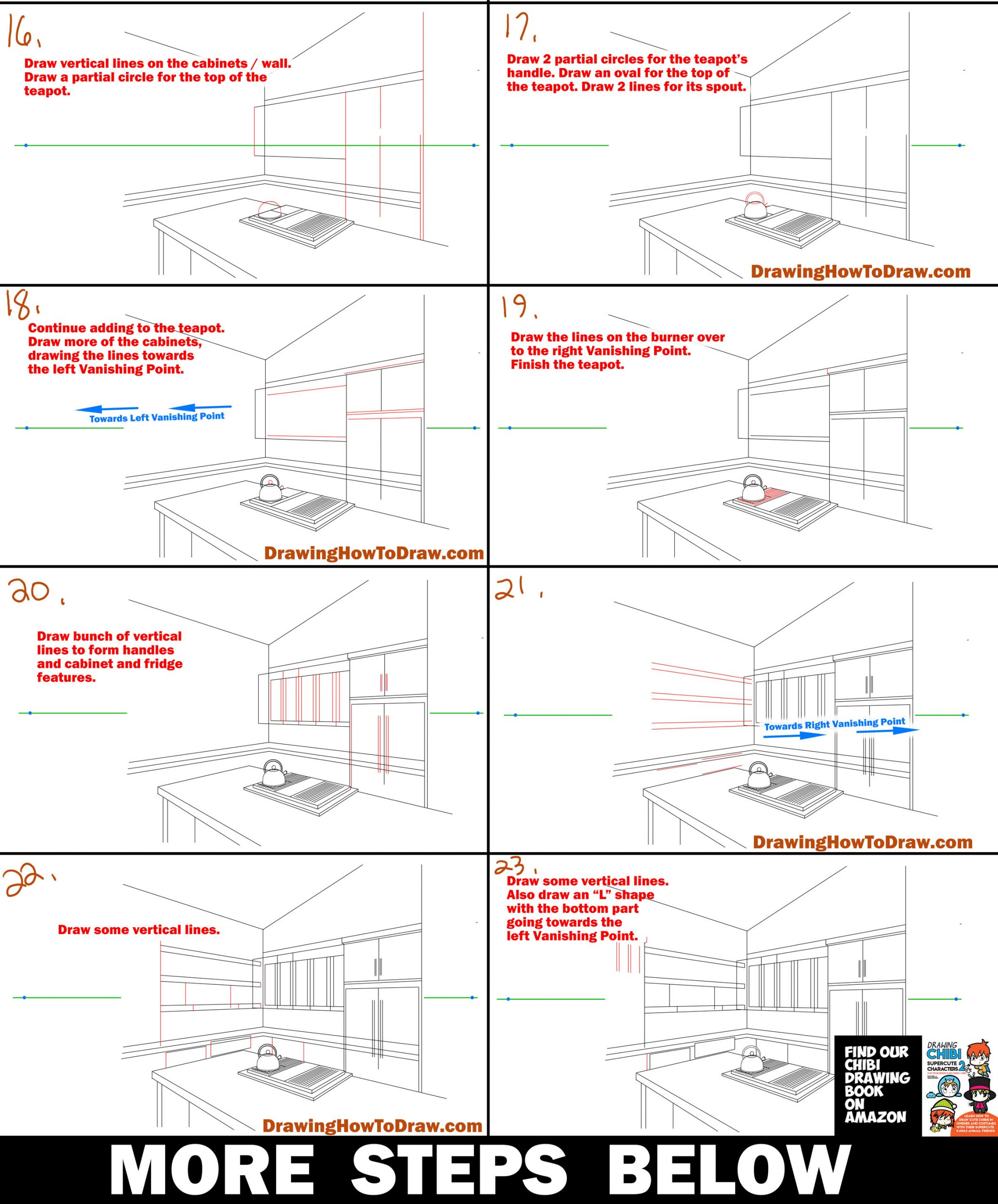 Drawing in Two Point Perspective - Kitchen - Interior Easy Step by Step Lesson