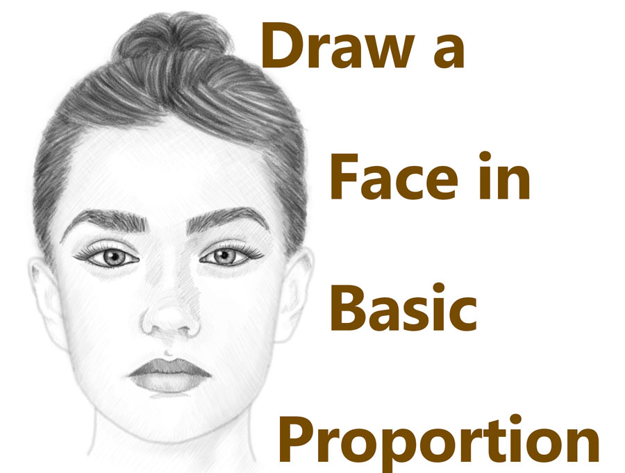How to draw a face front proportional simple steps lesson - beautiful woman