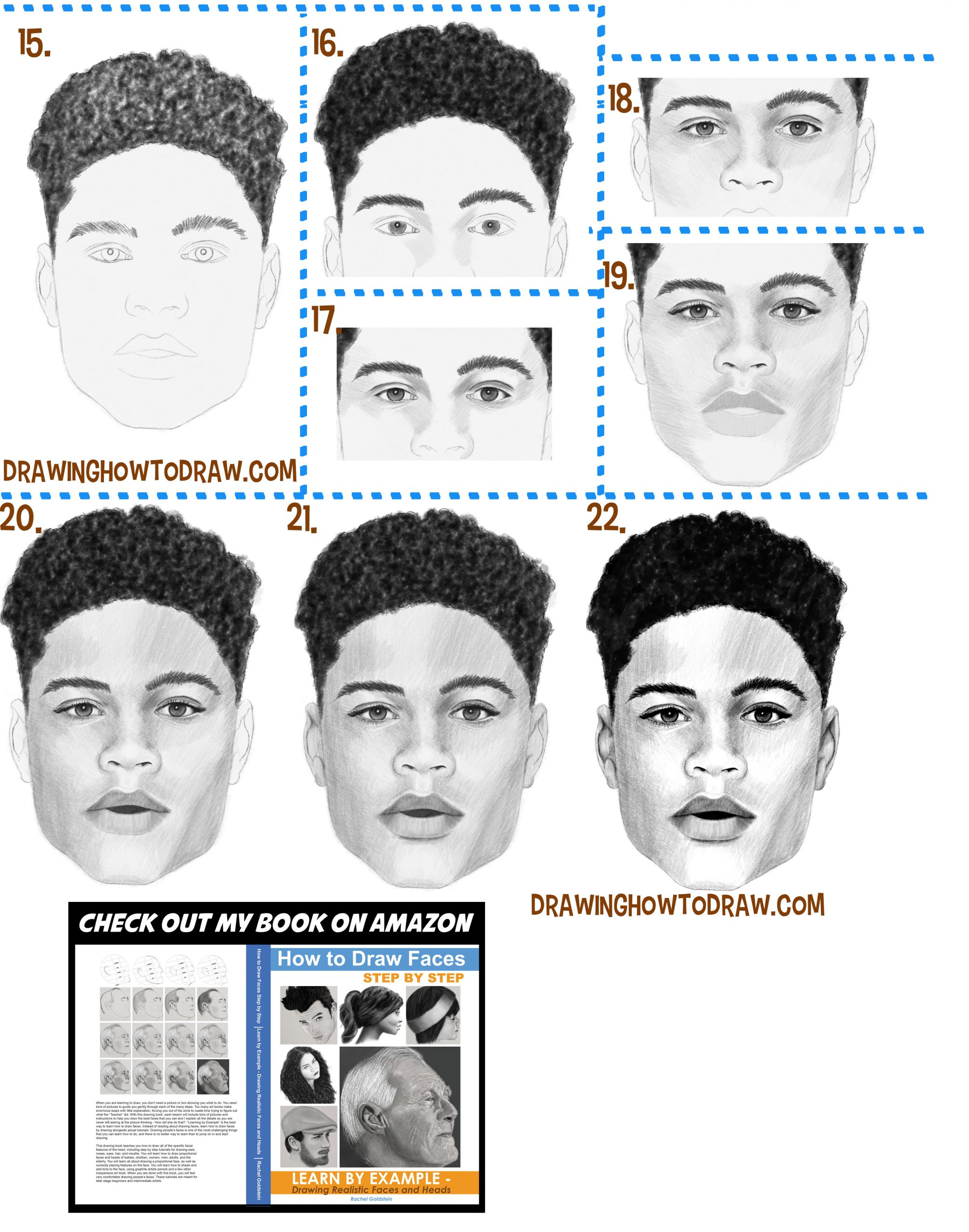 drawing a black man's face with simple steps drawing lesson for beginners