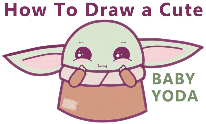 how to draw baby yoda from the mandelorian (cartoon, kawaii, chibi)
