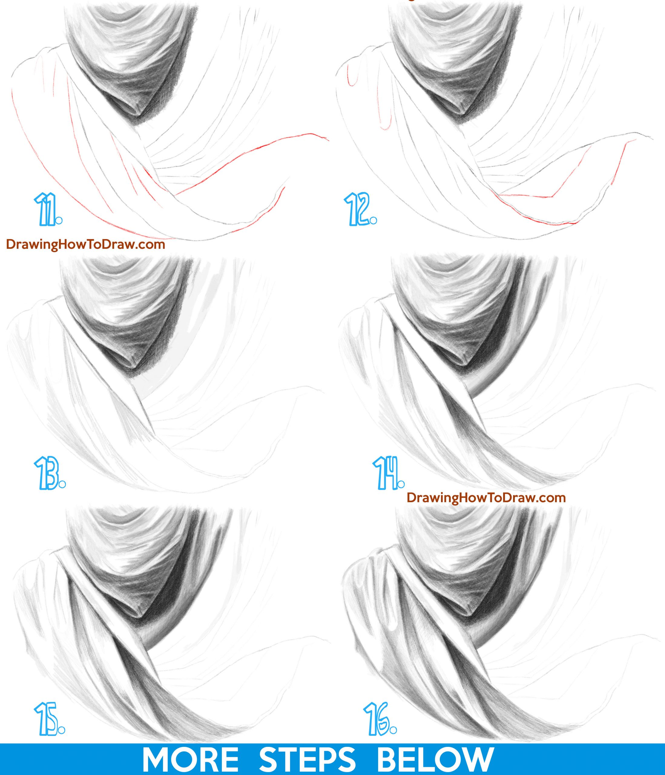 How to Draw Draped Fabric with Creased Folds, Wrinkles on Clothing Fabric and Drapery step by step drawing tutorial easy
