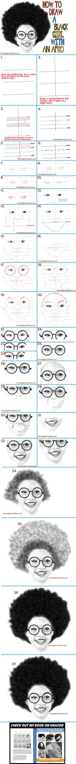 how to draw a black girl's face with glasses and an afro and a beautiful smile