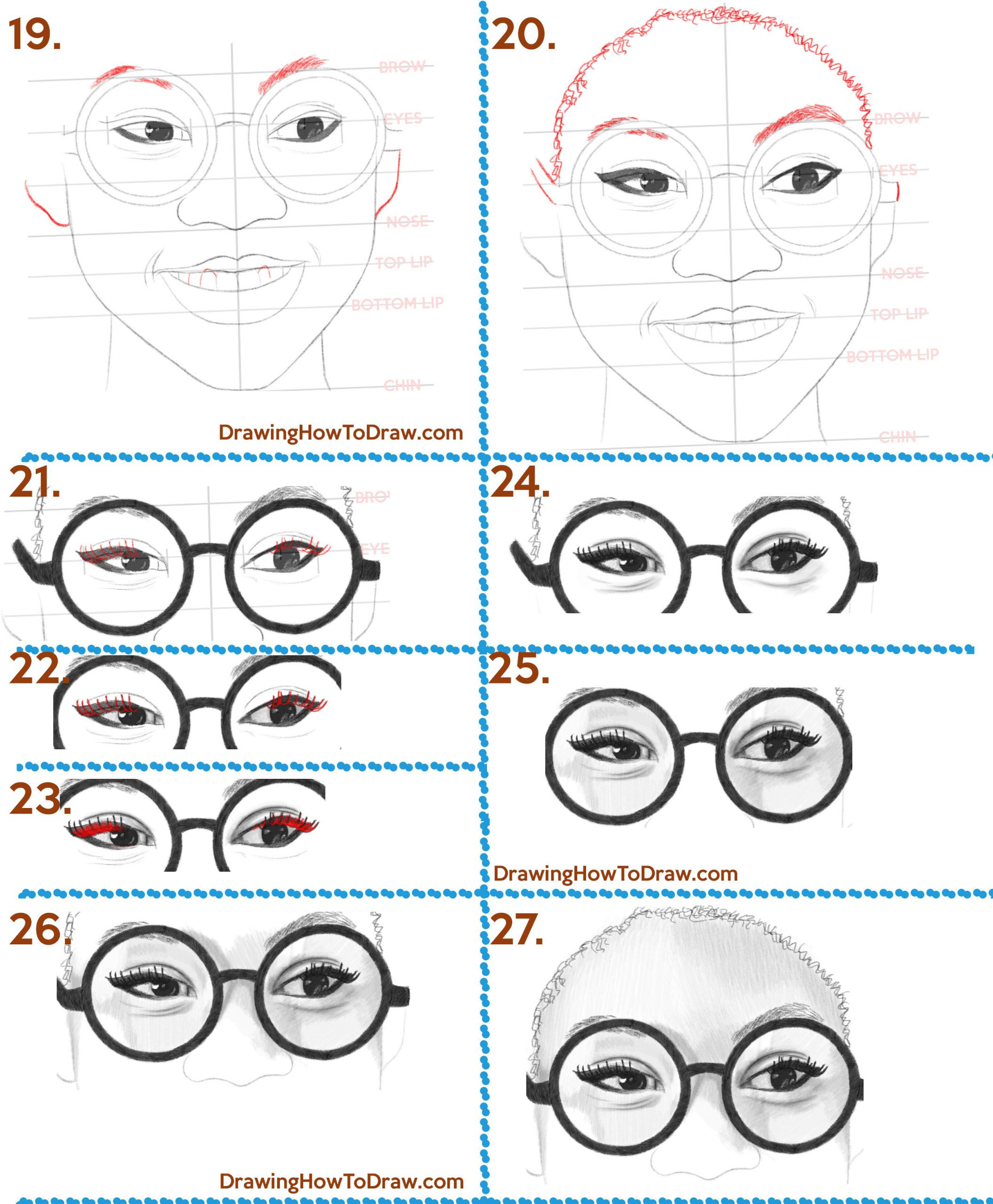 how to draw a beautiful african american woman or girl with an afro and glasses