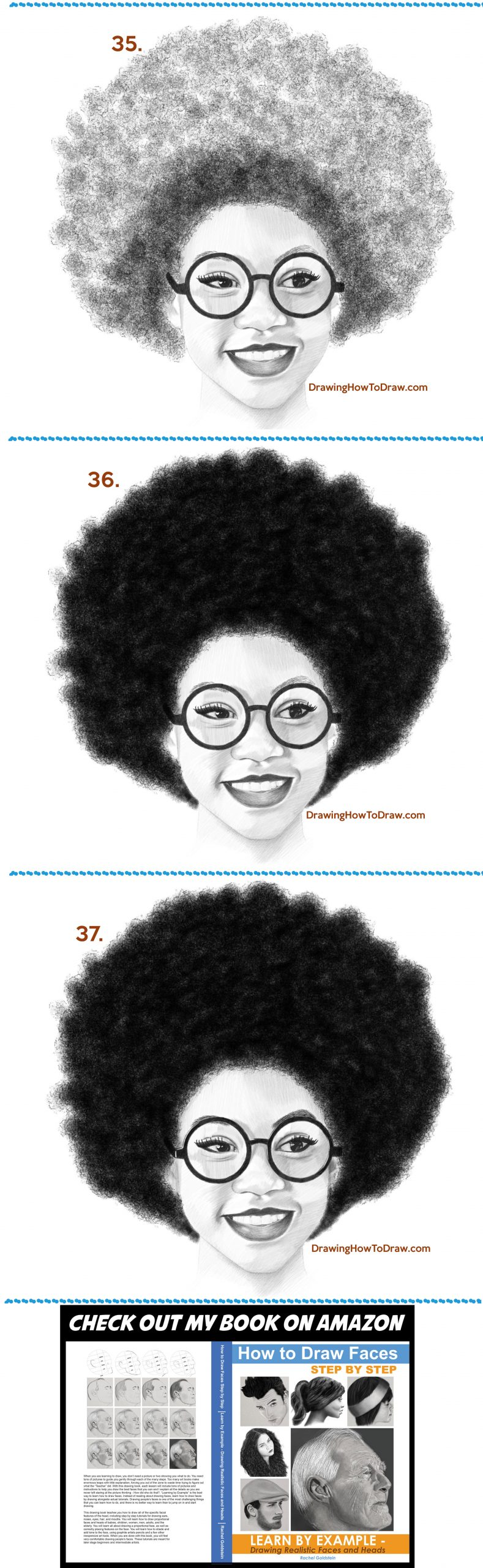 How to draw a black woman with an afro drawing tutorial easy