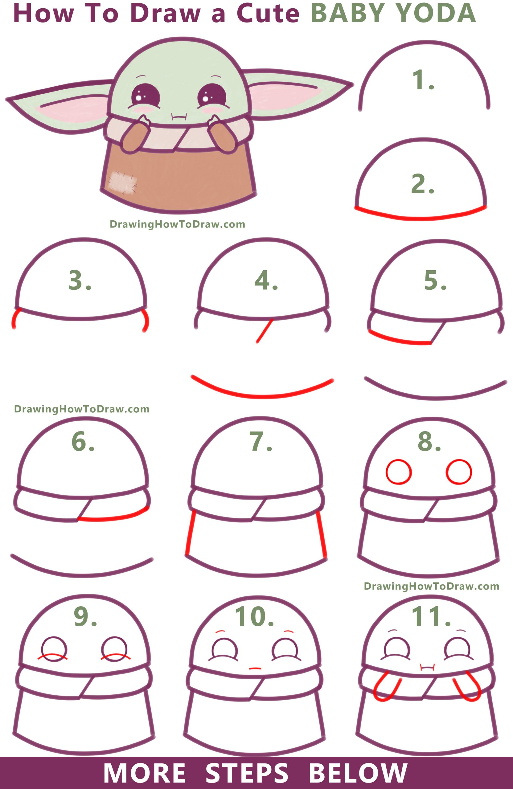 Learn How to Draw a Cute Cartoon Baby Yoda (Kawaii / Chibi) Easy Step by Step Drawing Tutorial