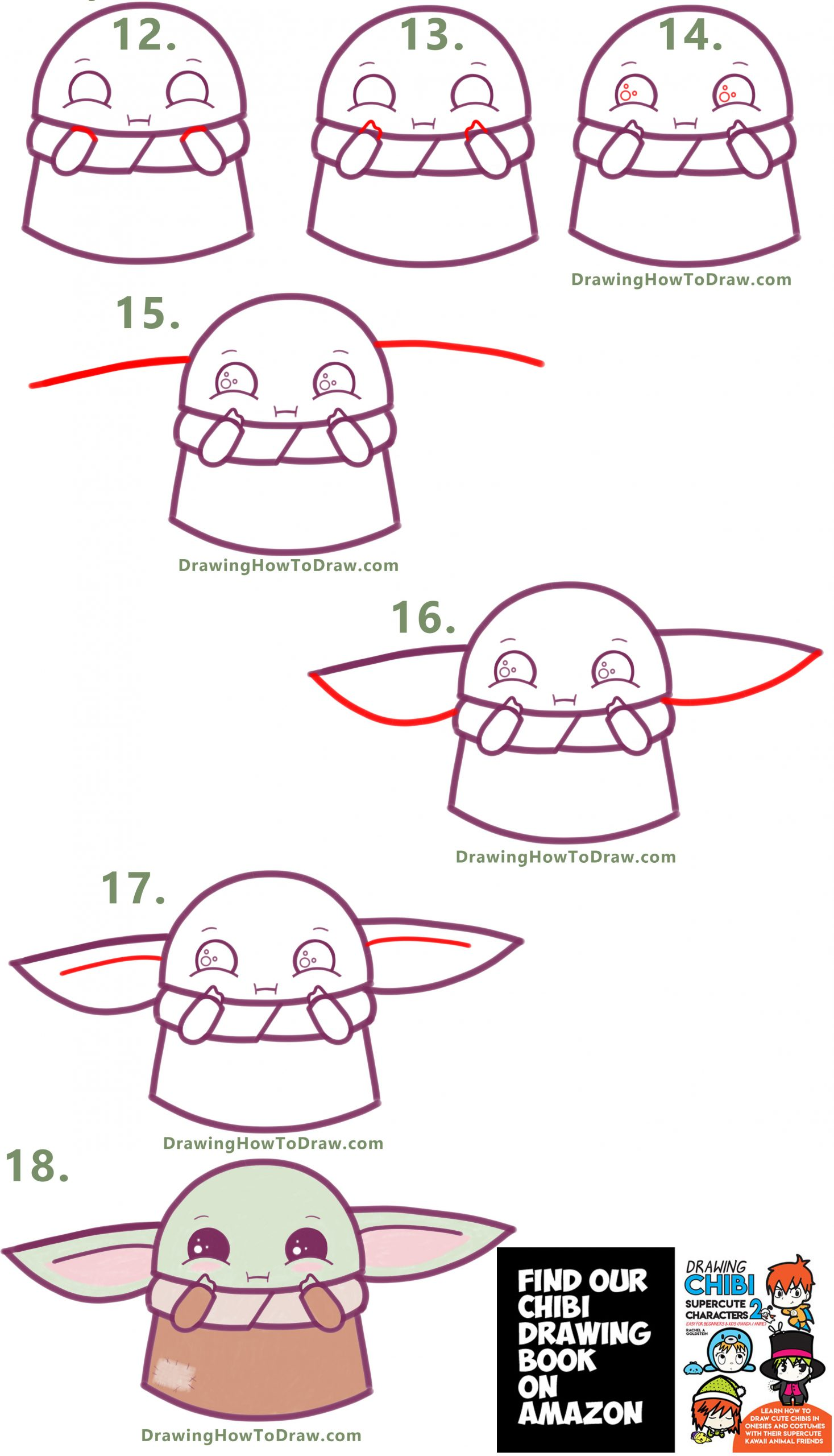 how to draw a cute baby yoda from the mandelorian