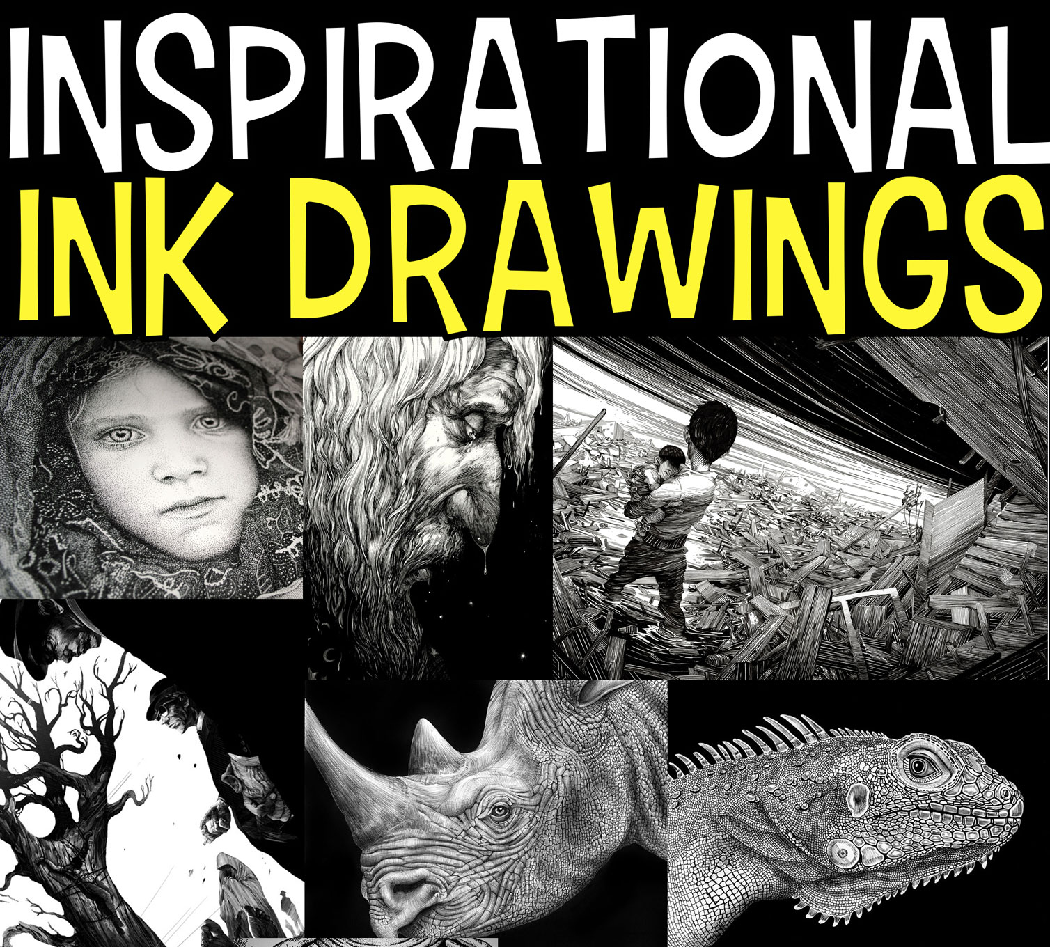 50+ Black and White Pen and Ink Drawings and Illustrations Inspirational Examples That Will Inspire The Artist in You