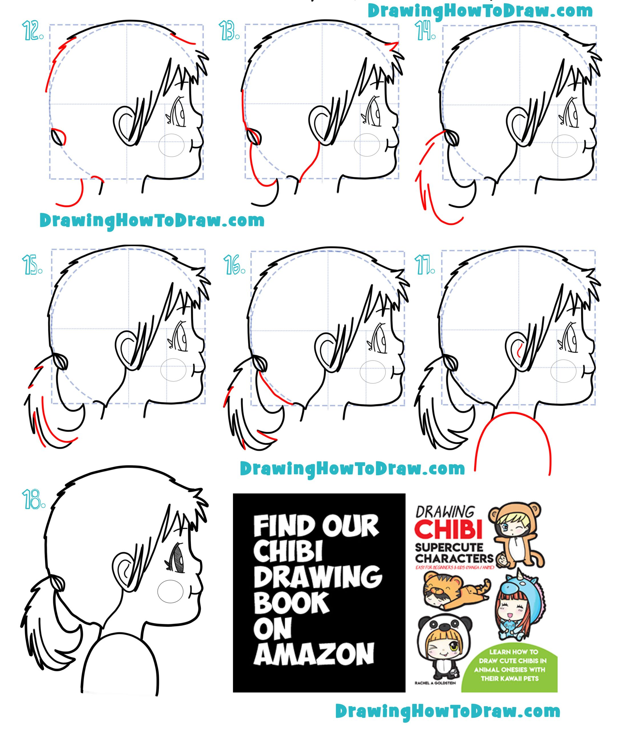 How to Draw a Cartoon Girl's Face From Side Easy Steps Tutorial