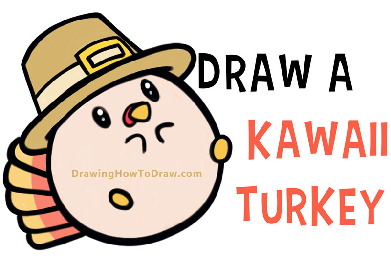 How to Draw a Cute Kawaii / Chibi Baby Turkey for Thanksgiving - Easy Step by Step Drawing Tutorial for Kids