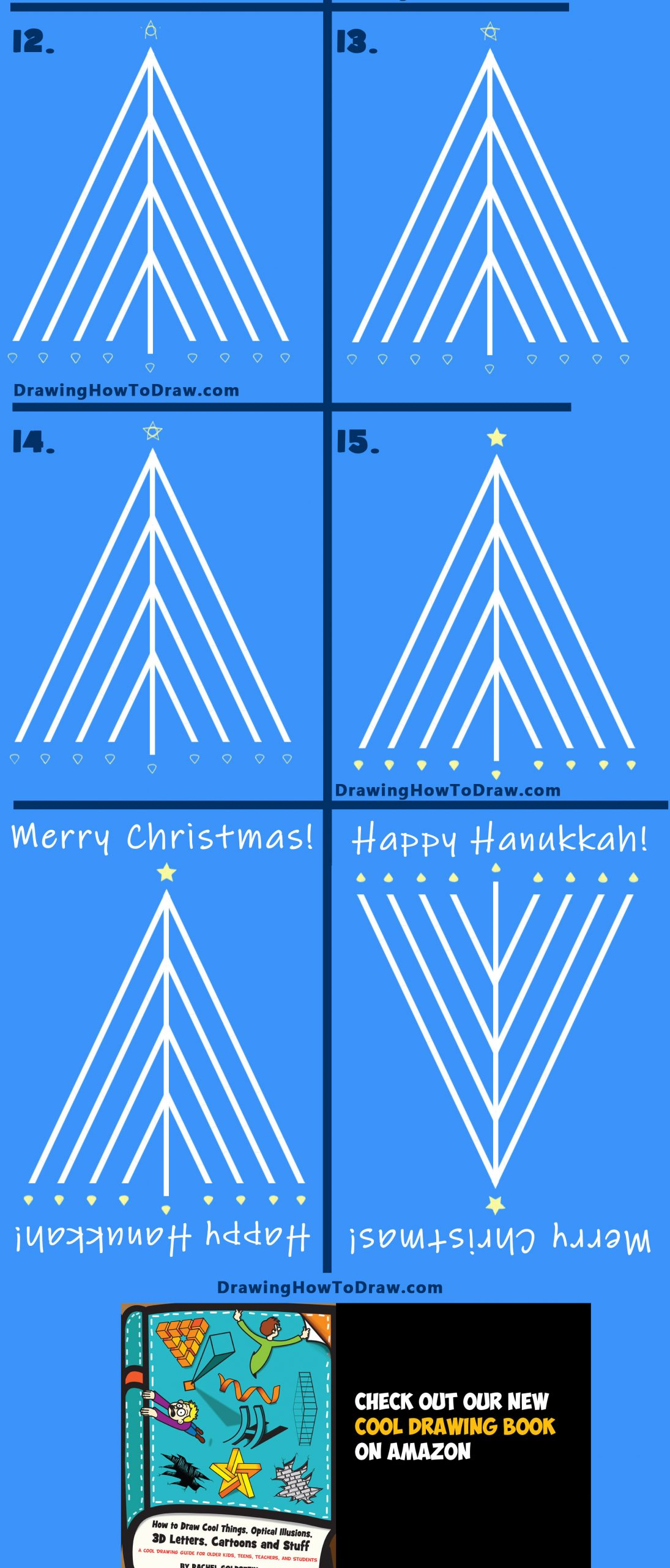 how to draw a christmas tree hanukkah menorah easy step by step drawing tutorial