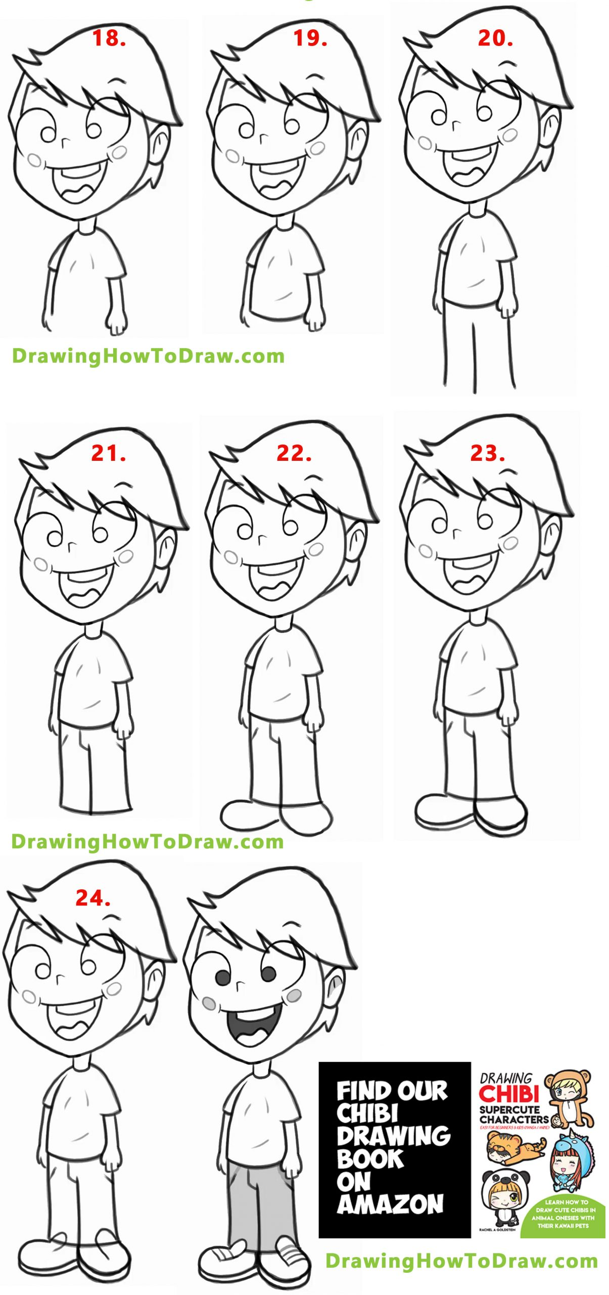 Drawing a Cartoon boy with easy steps lesson