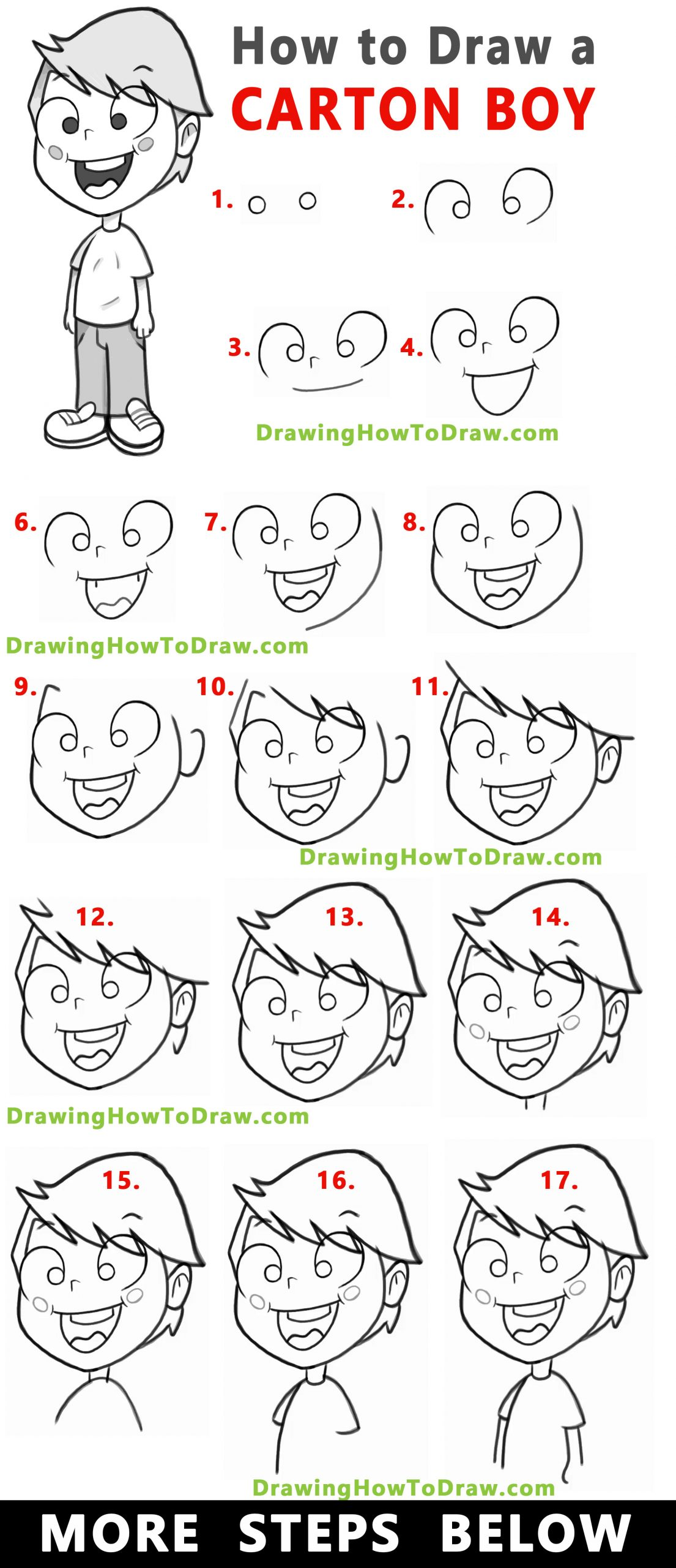 How to Draw a Cartoon Boy Standing With Easy Step by Step Drawing Tutorial