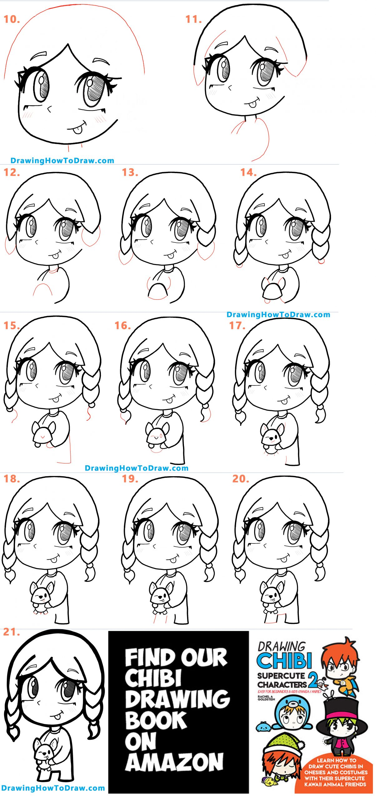 Learn How to Draw Anime / Manga / Chibi Girl with her Corgi Puppy Easy Step by Step Drawing Tutorial