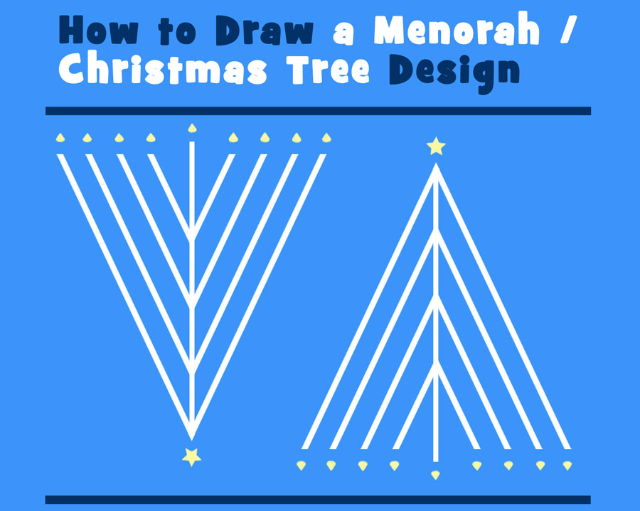 How to draw a christmas tree hanukkah meorah greeting card design