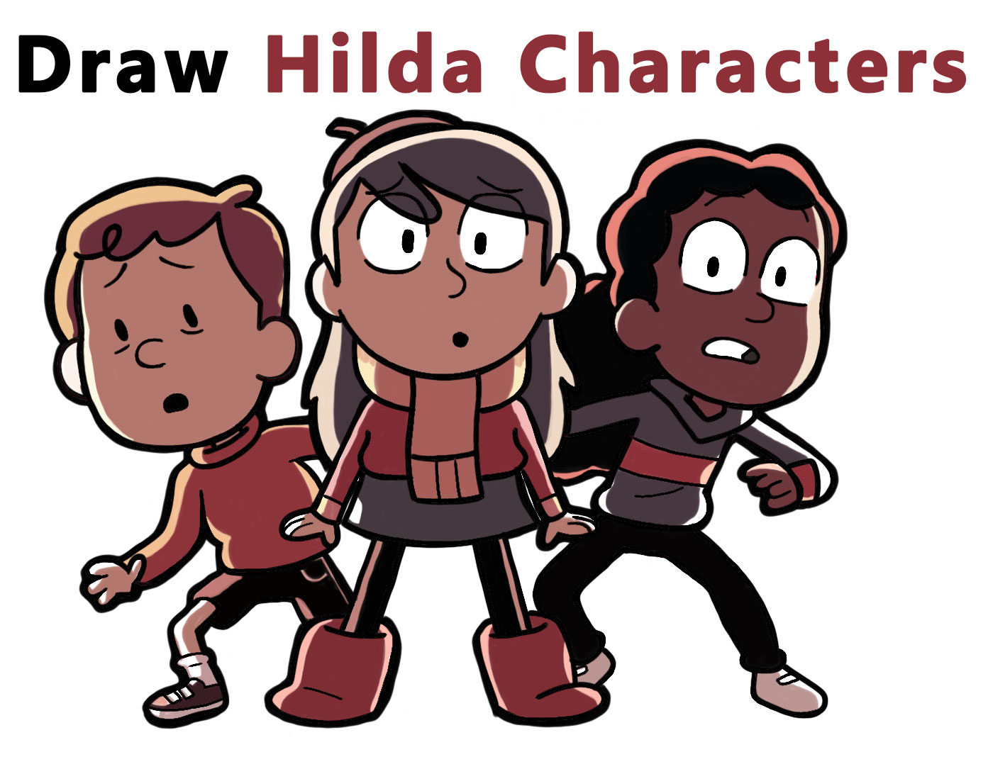 Learn How to Draw Hilda Characters (Hilda, David, and Frida) Easy Step by Step Drawing Tutorial for Kids