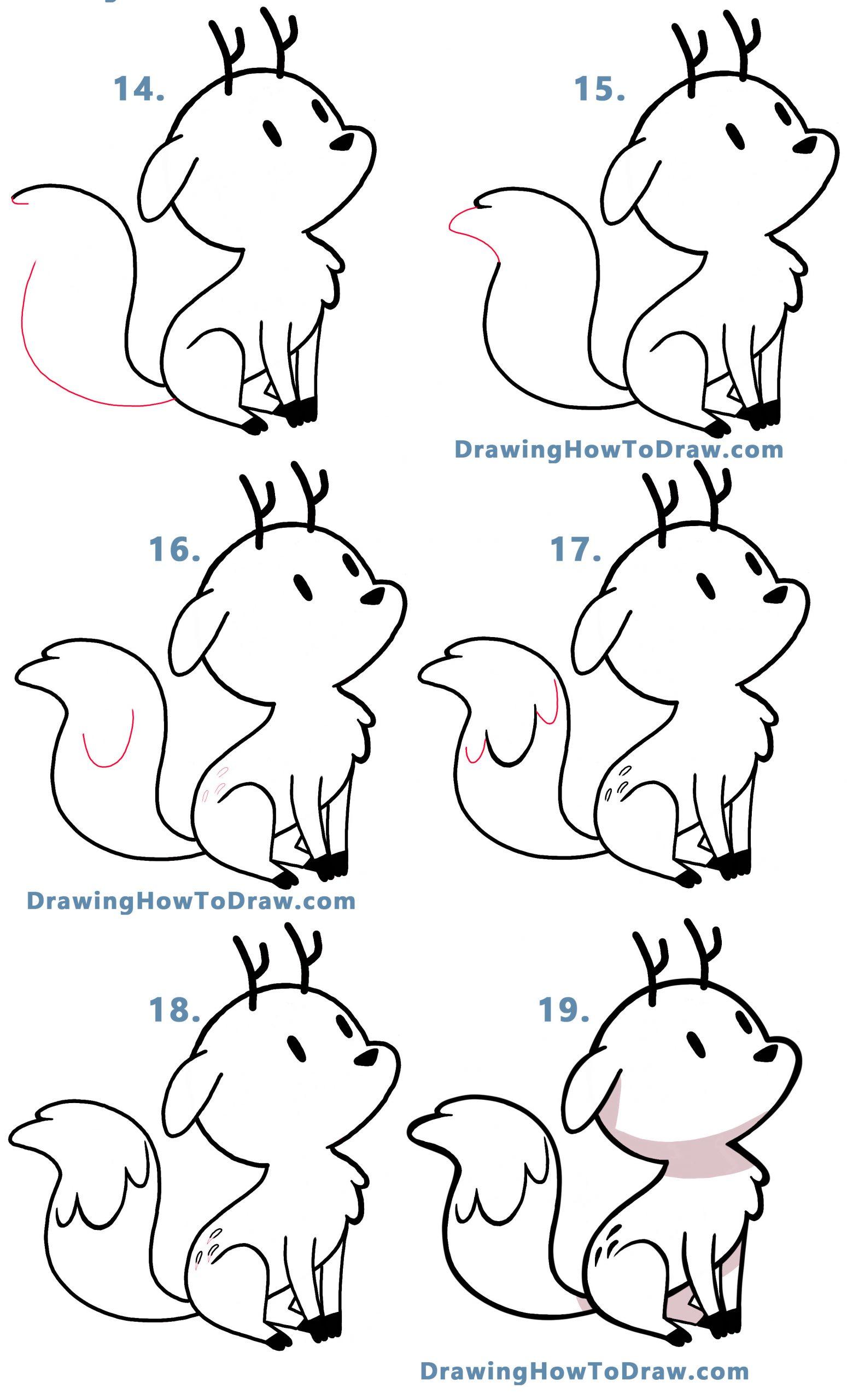 drawing the cute deerfox (deer fox) Twig from the cartoon hilda - easy step by step