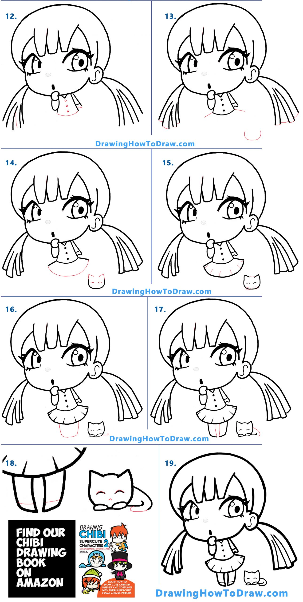 Learn how to draw a cute chibi manga anime girl with her kitten with simple steps drawing lesson for kids and beginners