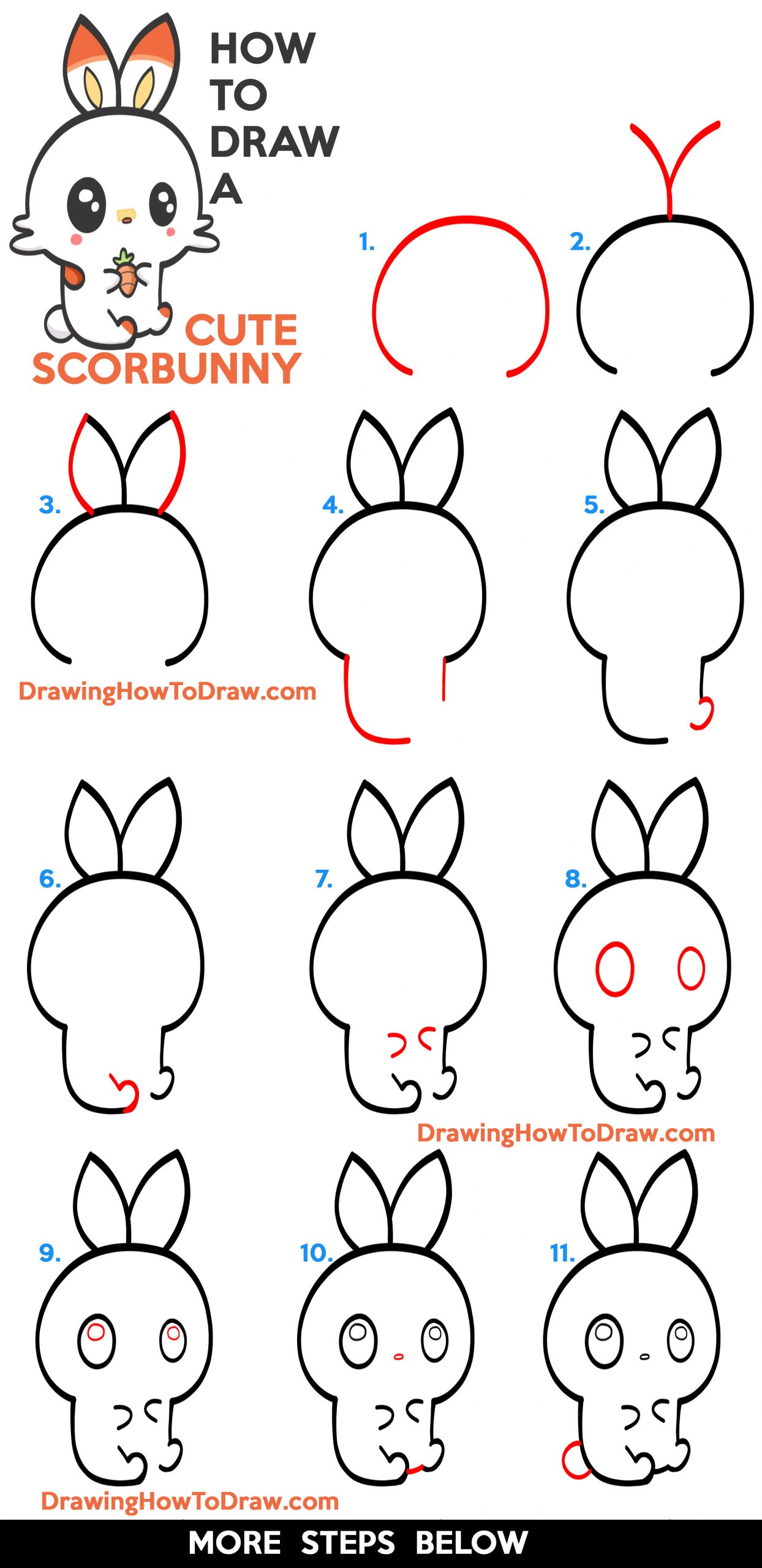 How to Draw a Cute (Kawaii / Chibi) Scorbunny from Pokemon - Easy Step by Step Drawing Tutorial for Kids