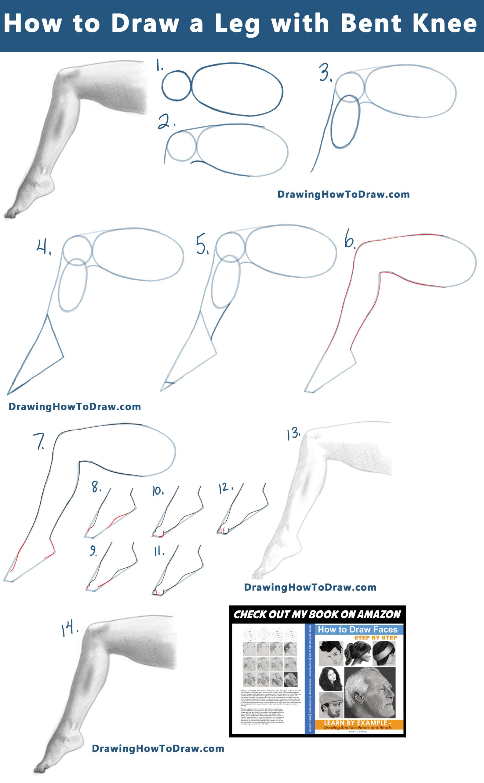 How to Draw a Leg and Foot with a Bent Knee from the Side View :  Step by Step Tutorial 04