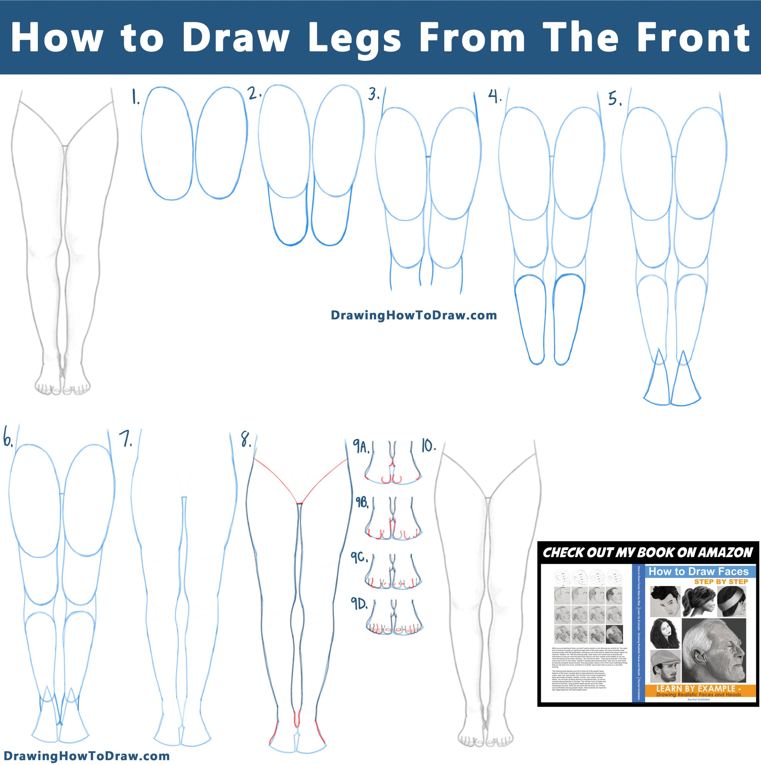 How to Draw Legs / Feet from the Front View