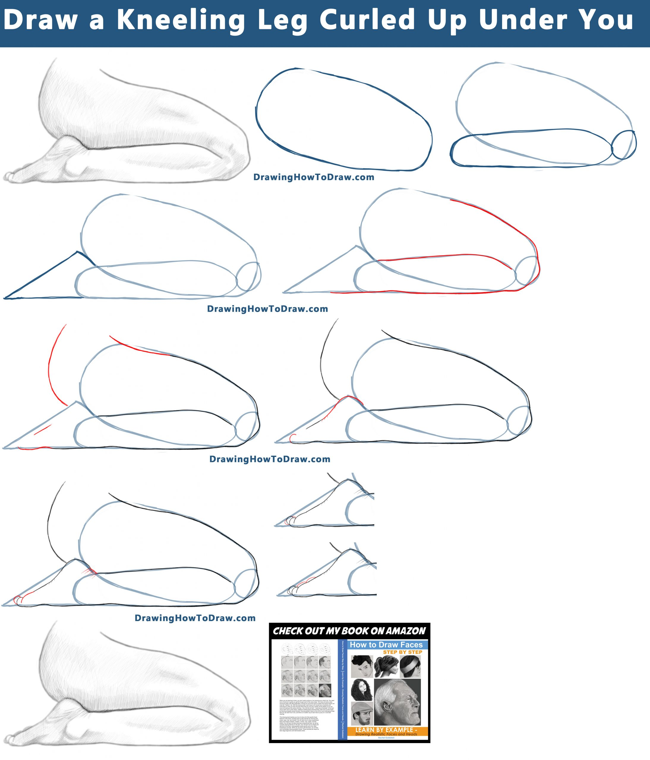 How to draw kneeling legs folded back behind you, sitting on your legs - easy step by step drawing tutorial