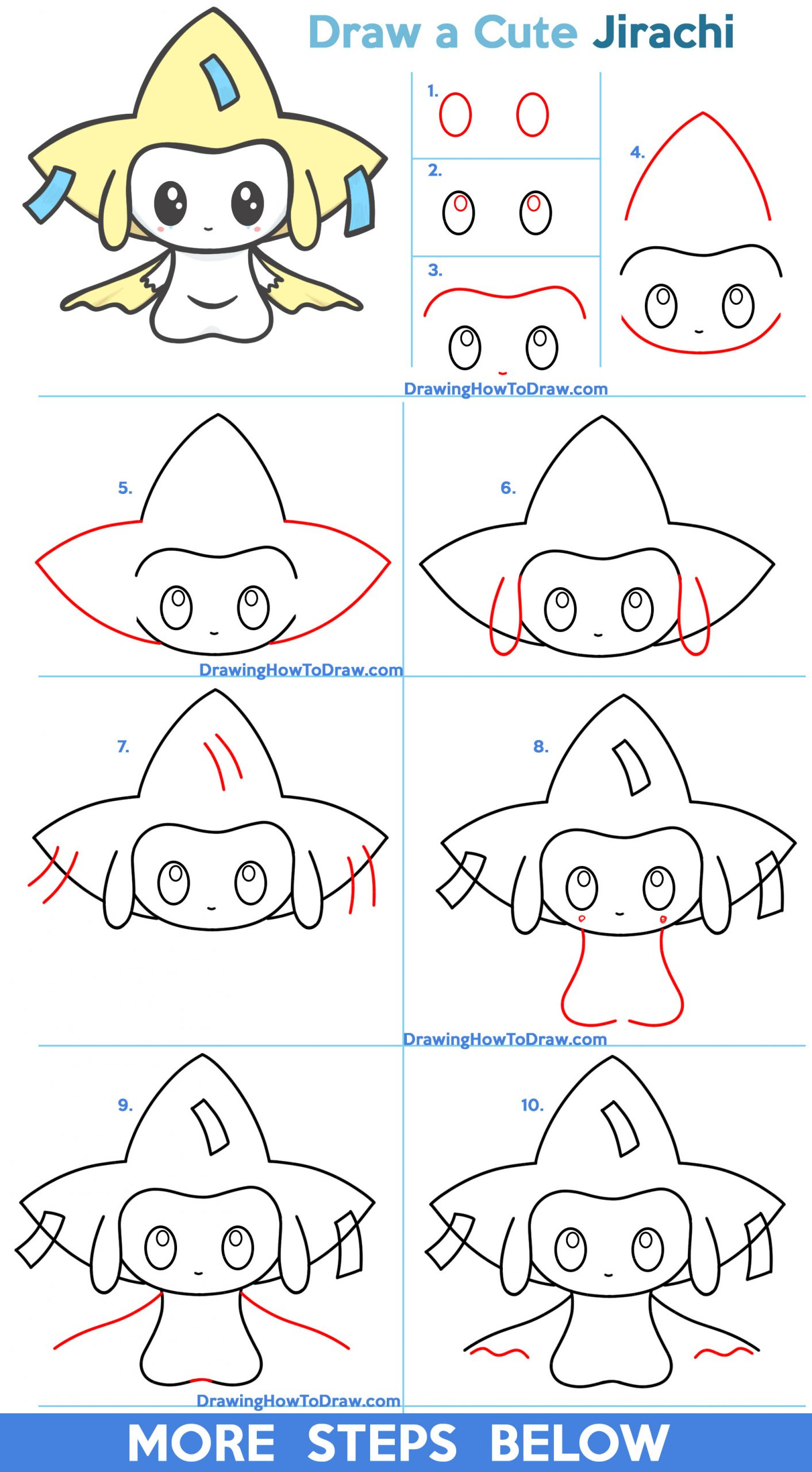 Learn How to Draw a Cute / Kawaii / Chibi Jirachi from Pokemon Easy Step by Step Drawing Tutorial for Kids