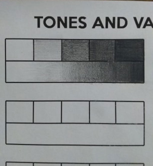 tones and values - 5 value scale