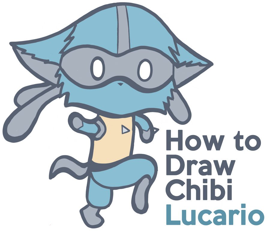 how to draw lucario from pokemon - chibi kawaii super cute