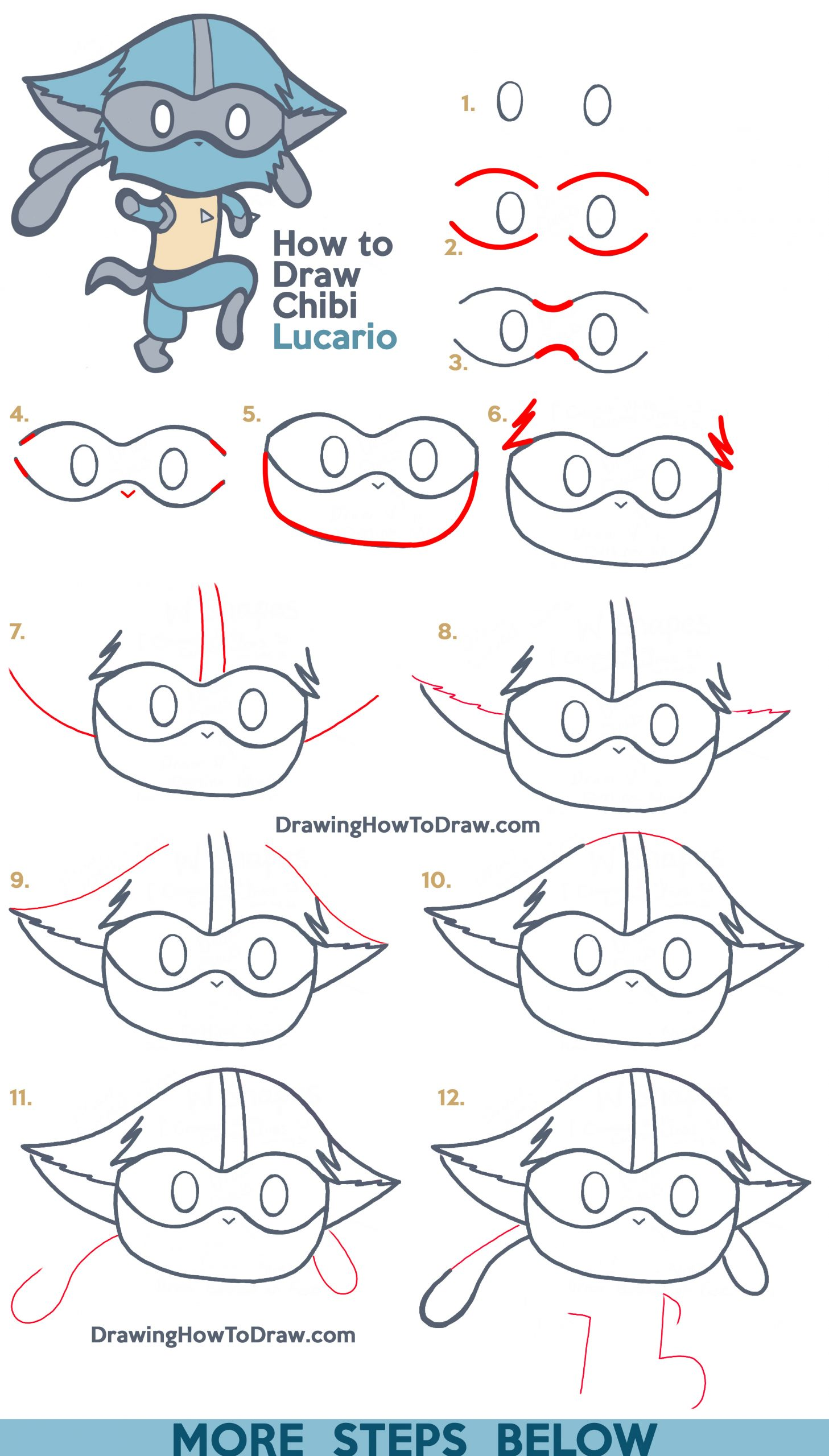 How to Draw a Cute Lucario (Kawaii / Chibi) from Pokemon with Easy Step by Step Drawing Tutorial