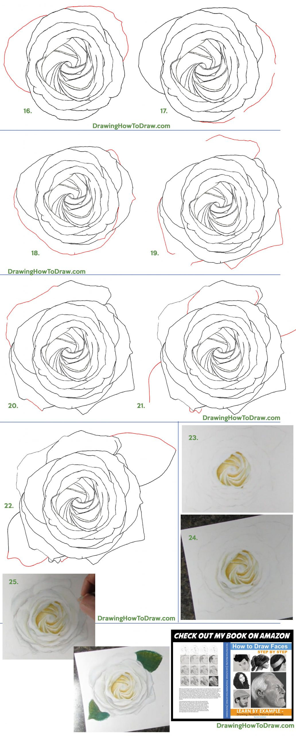 Learn How to Draw a White Rose from Above for Valentine's Day - Using Pencils and Colored Pencils - Step by Step Drawing Tutorial