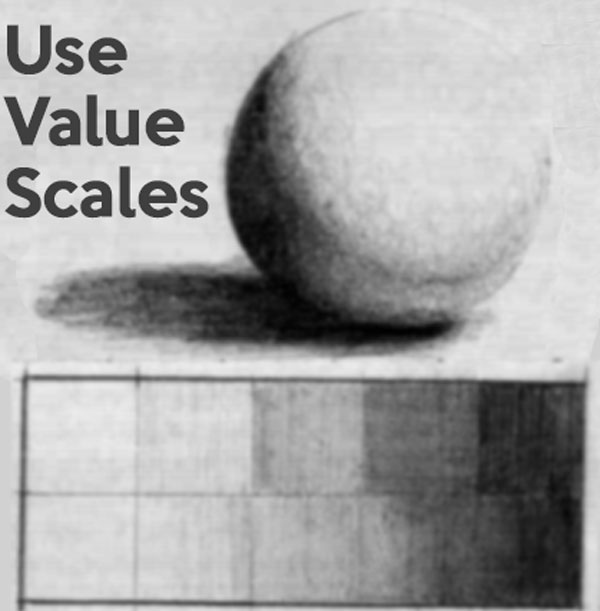 Use value scales in your drawings - value scales exercises for beginners