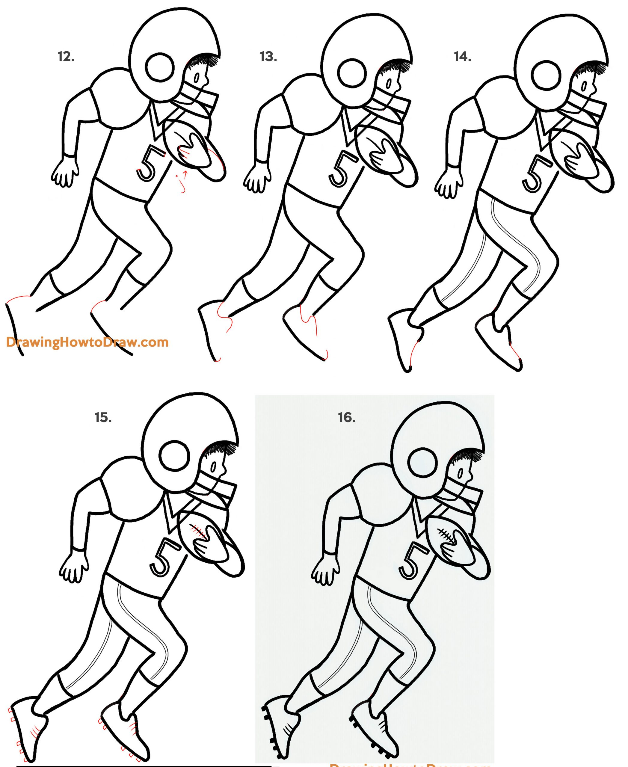 How to Draw a Cartoon American Football Receiver - Easy Step by Step Drawing Tutorial
