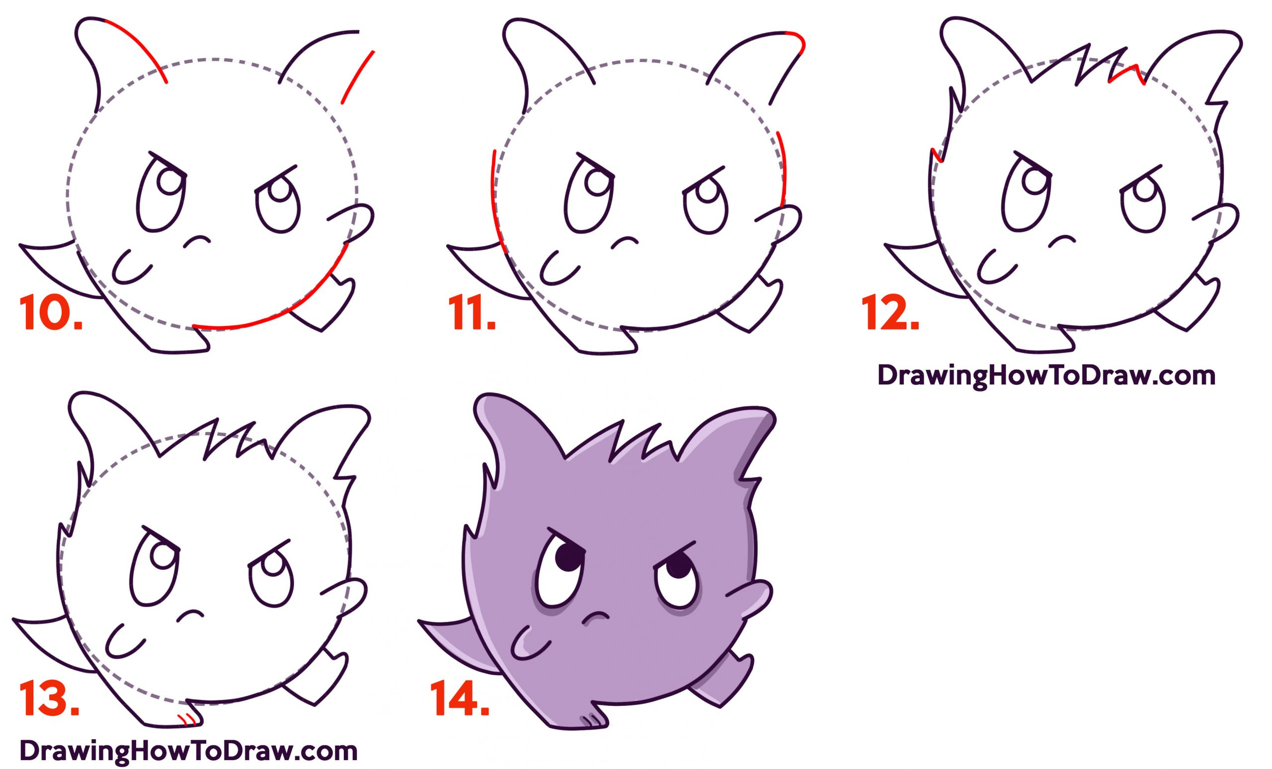 learn how to draw cute chibi kawaii gengar pokemon simple lesson for kids