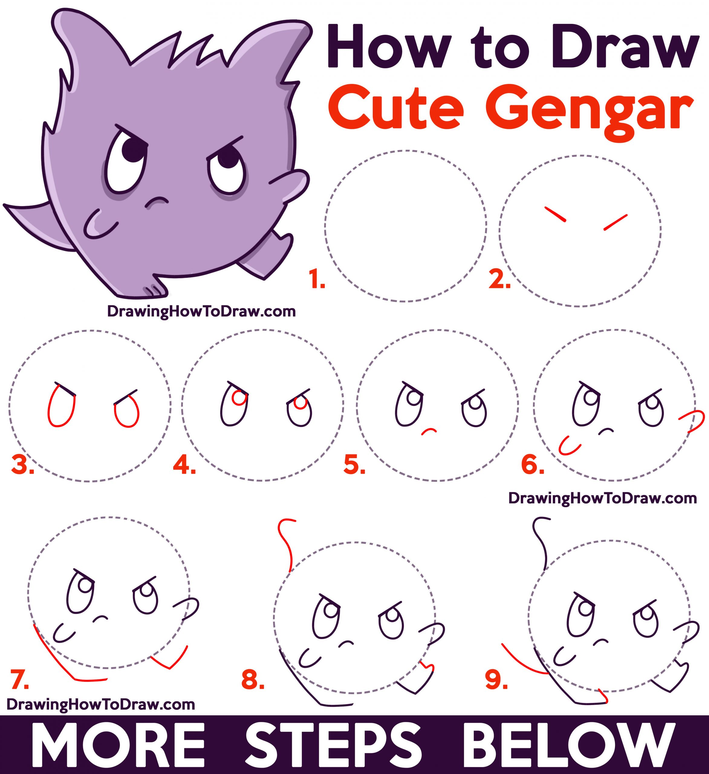 How to Draw a Cute / Kawaii / Chibi Gengar from Pokemon Easy Step by Step Drawing Tutorial for Kids