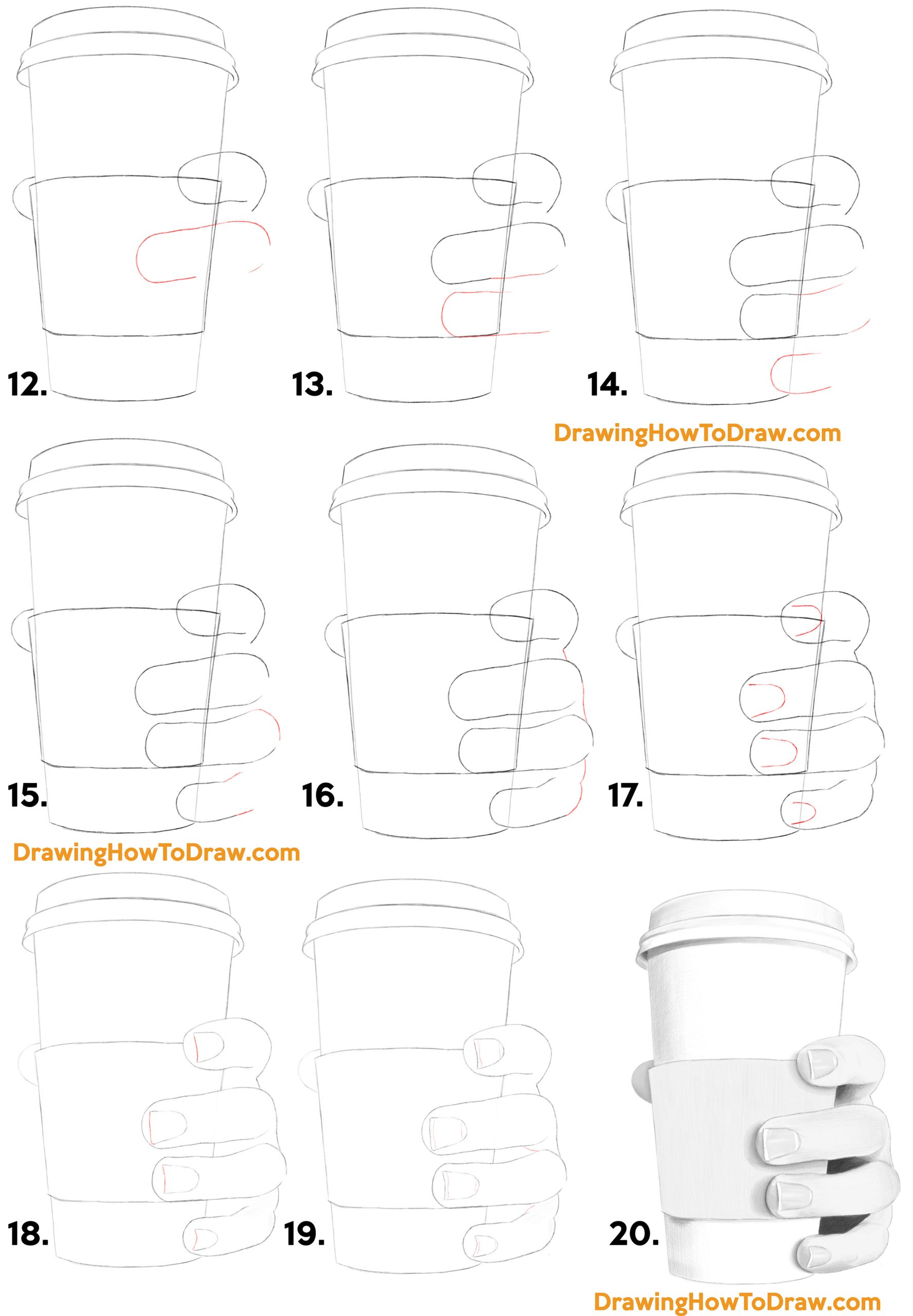 How to Draw a Realistic Hand Holding a Disposable Coffee Cup - Step by Step Drawing Tutorial