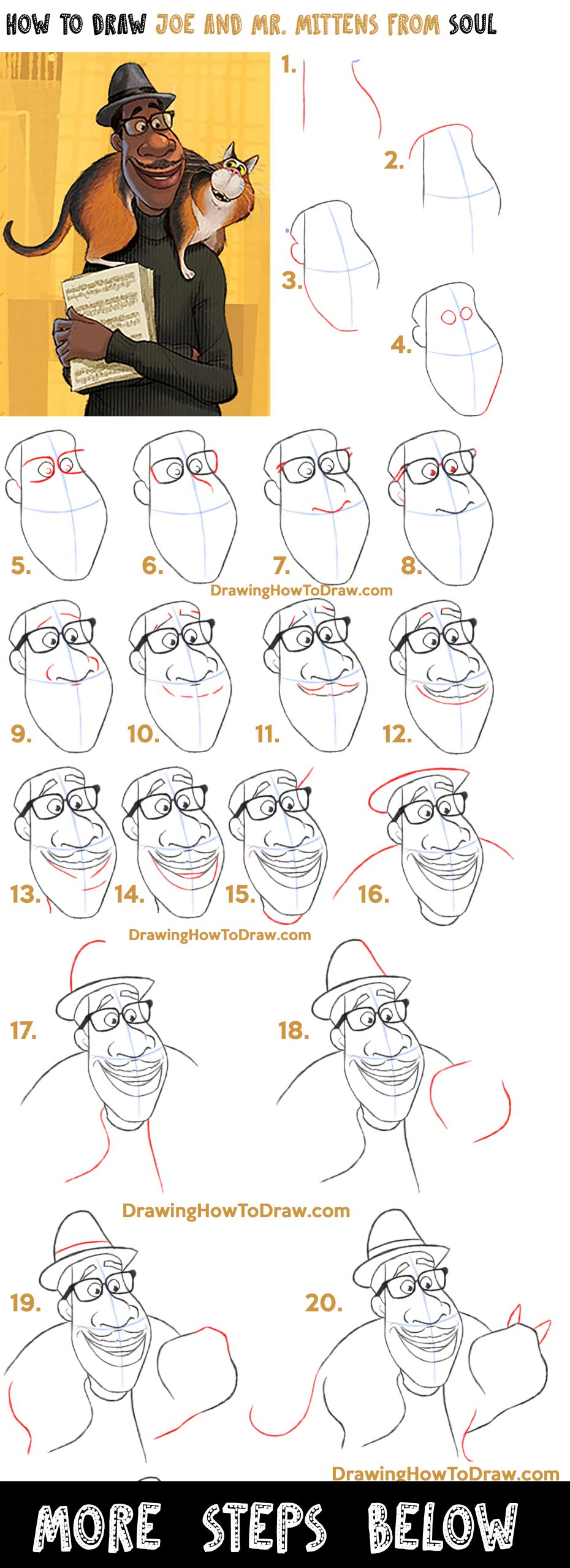 Learn How to Draw Joe Gardner and Mr. Mittens the Cat from Pixar's Soul Easy Step by Step Drawing Tutorial