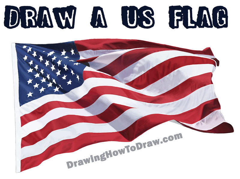 Learn How to Draw a Realistic US Flag / American Flag - Step by Step Drawing Tutorial