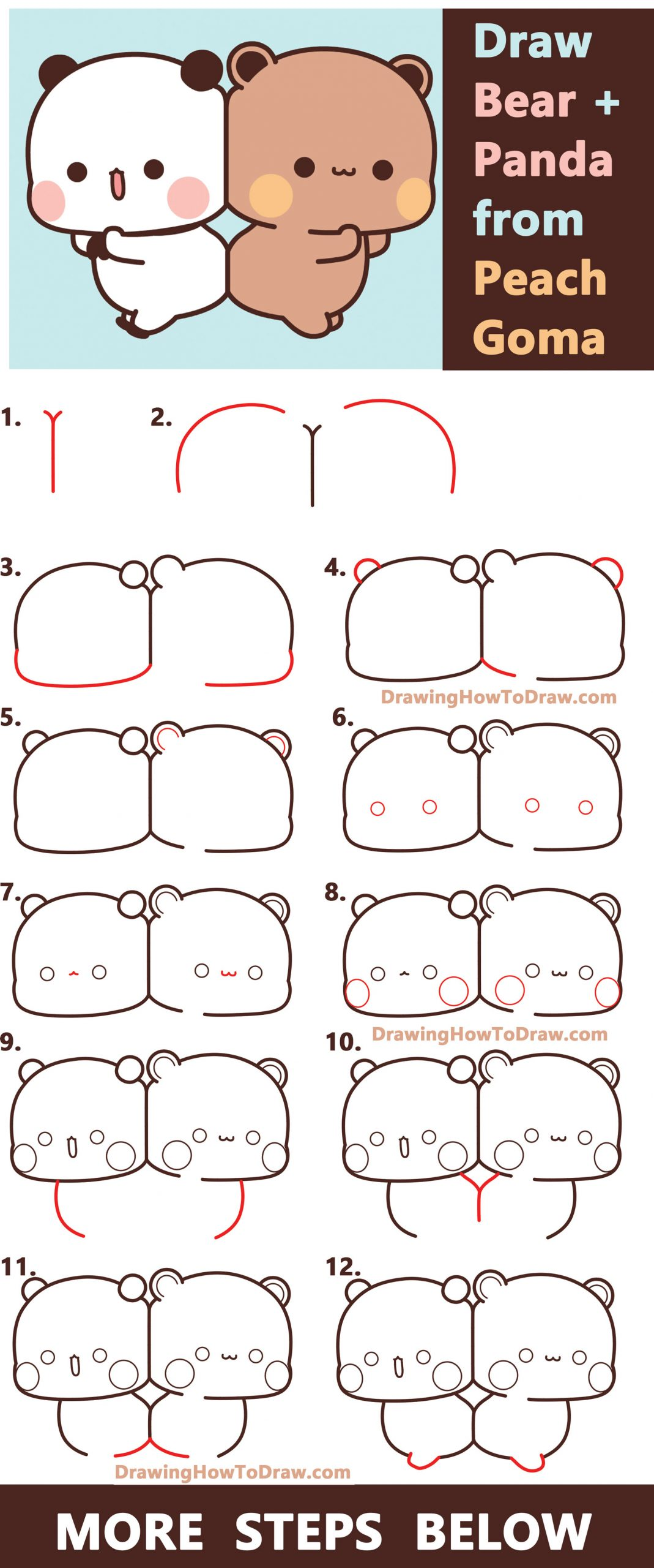 How to Draw Bear and Panda from Peach Goma (Kawaii) Easy Step by Step Drawing Tutorial
