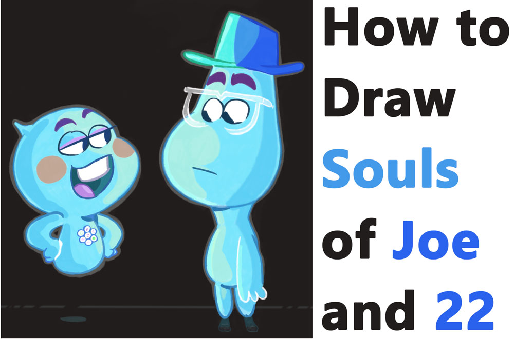 Learn How to Draw the Souls of 22 and Joe Gardner from Disney Pixar's Soul - Easy Step by Step Drawing Tutorial